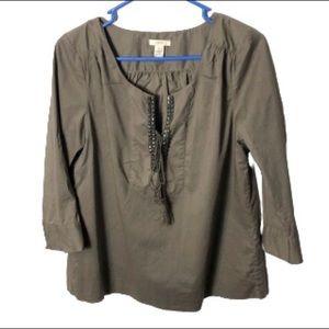 J. Crew brown top shirt studded size 4 Euc